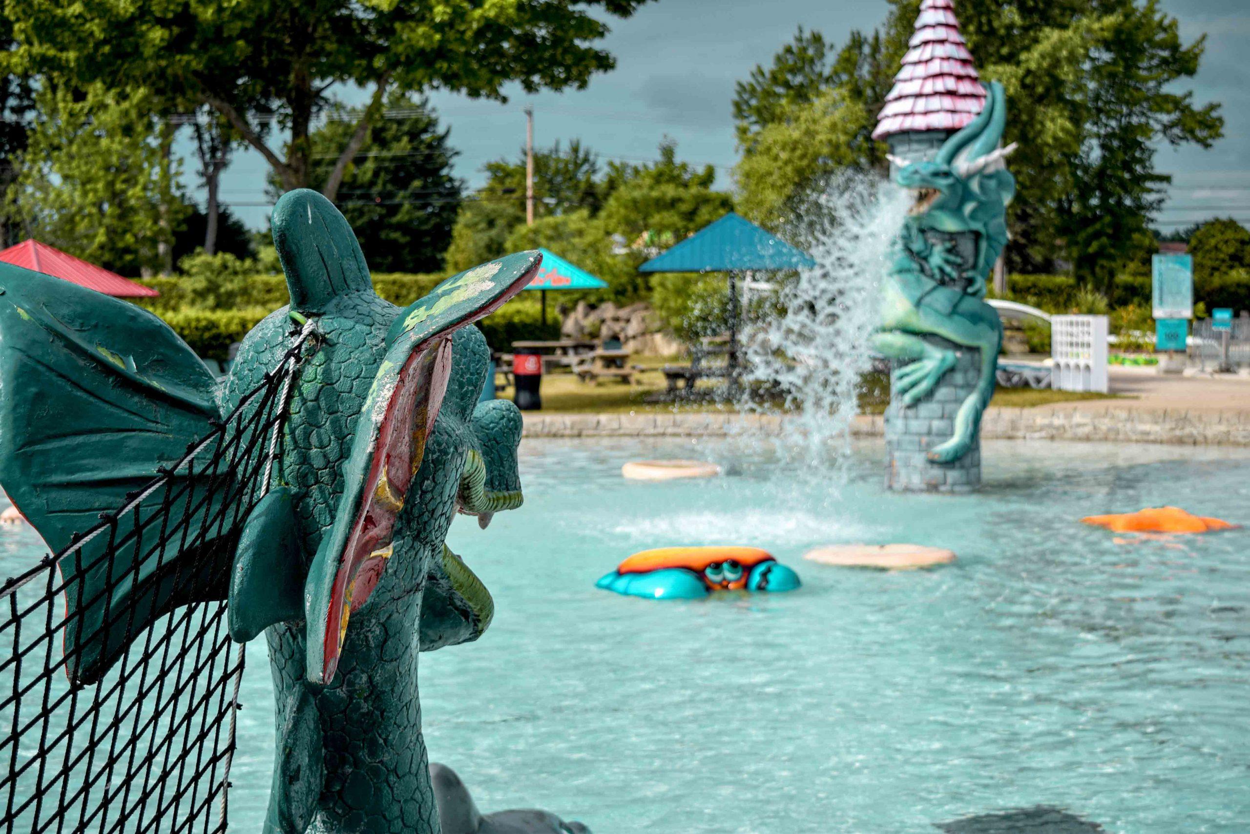 dragon devant bassin d'eauavec animaux flottants