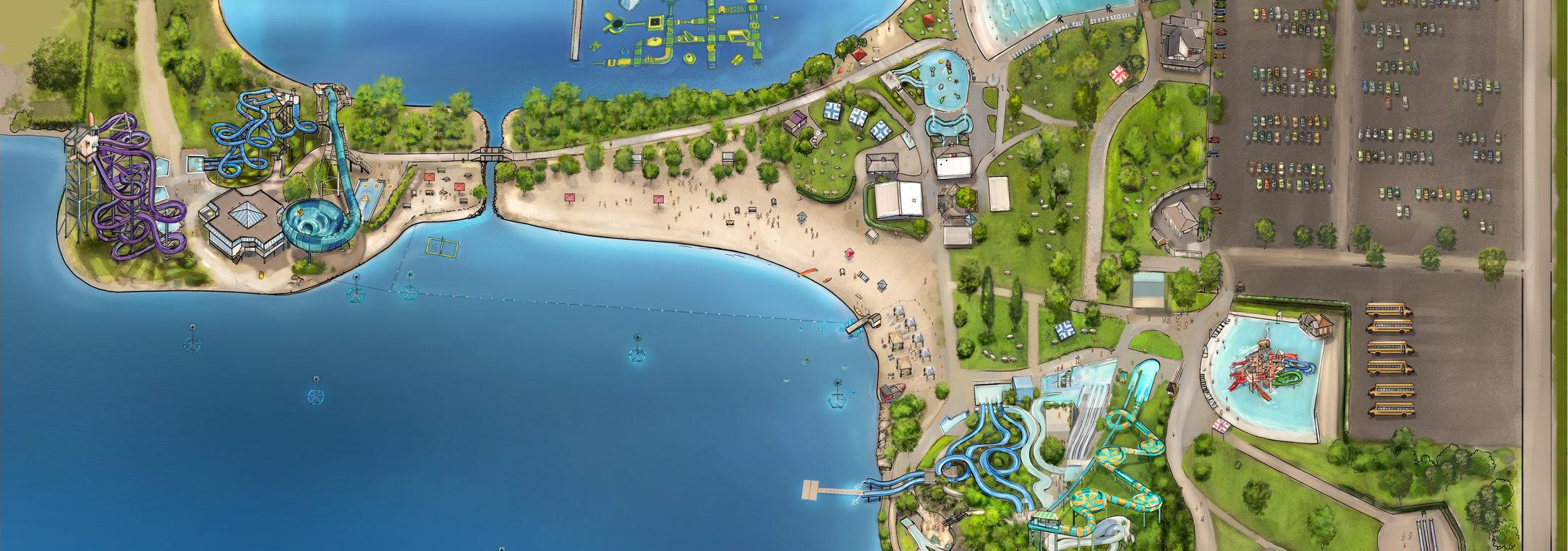 Carte du super aqua club comportant toutes les attractions
